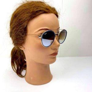 RayBan Sunglasses Gold blue Frame Brown Gradient Lens Round Double Bridge RB3546